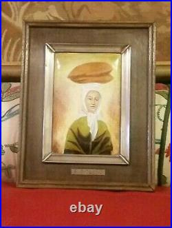 Enamel Vintage Picasso Painting Woman with Loaves Silver Hallmarked Framed C1950