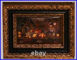 Enamel miniature Still life with fruits inspired by Balthazar van der Ast