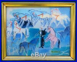 Enamel on Copper Painting Mid Century Raoul Dufy Circus Horses