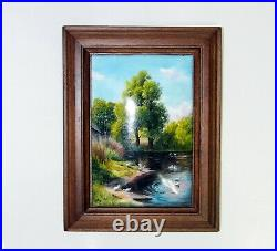 Enamel on copper plate painting / plaque, free hand, framed 6x7.9, 15.5x20cm