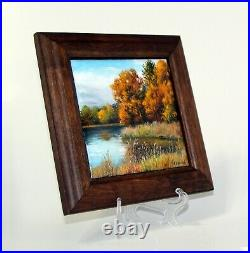 Enamel on copper plate painting / plaque, free hand, framed 7.3x7.3, 18x18cm