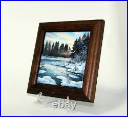 Enamel on copper plate painting / plaque, free hand, framed 7.7x7.7, 20x20cm