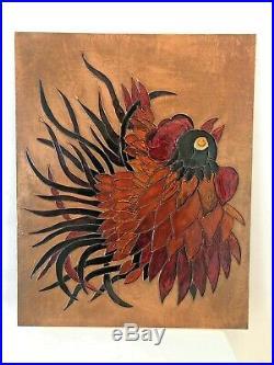 Enamels on Copper Repousse, Josette Tournier Glazer Art, Large Rooster