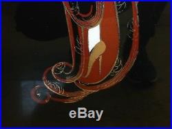 Erte Reverse Foil Enamel On Glass Art Deco Lovely Lady Painting