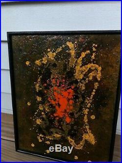 Estate FORSTNER Mid-Century Art Framed Copper on Enamel Abstract Painting