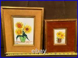 Estate Vintage Gorgeous Floral PAIR Esterida Enamel on Copper Velvet Framed