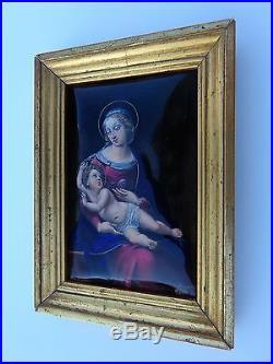 Exquisite 19th Century Madonna Child Jesus After Raphael Sanzio Enamel Painting