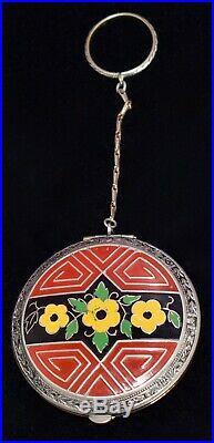 FABULOUS Antique ART DECO Floral HAND PAINTED ENAMEL Compact w FINGER RING