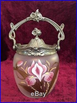 Fabulous ART NOUVEAU Iris Enameled PAINTED CRACKER BISCUIT JAR