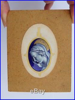 Fabulous French Art Deco Limoges Enamel Copper Virgin Mary Pendant Design
