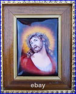 Fabulous French Art Nouveau Deco C. 1920s Enamel Jesus Christ ECCE HOMO Painting