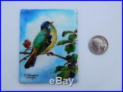 Fabulous French Miniature Enamel Limoges Bird Blackberries FJ Carmona Painting