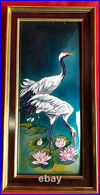 Fauré Email, Enamel Limoges the Ibis / Birds Signed Numbered