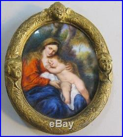Fine 19th C. FRENCH ENAMEL Plaque Painting with Mother & Child c. 1870 antique