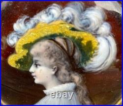Fine Antique Limoges Enamel Portrait Of A Woman In Large Hat. Nice Frame