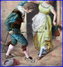 Fine & Large 19th C. FRENCH ENAMEL on COPPER Plaque of a Sword Fight c. 1890