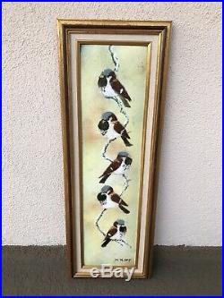 Fine Max Karp Original Enamel on Copper Painting with Winter Birds Chickadees RARE
