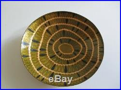 Fine Old Austria Steinboch Rare Abstract Enamel On Copper Bowl Painting 9.5 Inch