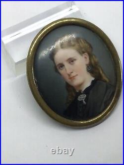 Fine c1890 Portrait Miniature Painting Enamel Porcelain Of Pretty Young Lady