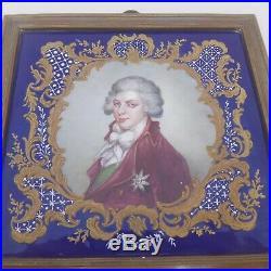 Fine mid 19th century enamel portrait miniature of a gentleman, framed