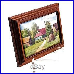Finift Enamel Painting Wall Art Hand Painted Russian Summer Village House