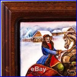 Finift Enamel Painting Wall Art Hand Painted Russian Winter Troika Horse Village