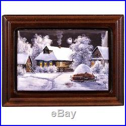 Finift Enamel Painting Wall Art Hand Painted Russian Winter Village Night House