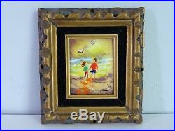 Fleming Enamel on Copper Miniature Painting Girl and Boy Holding Hands Beach