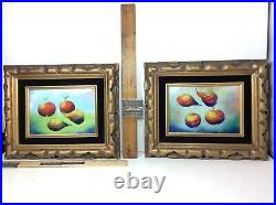 Fleming Enamel on Copper Pair of 2 Framed Still Life Fruit Apple Pear Paintings