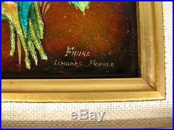 Flowers Mountain Genuine Enamel Limoges Signed Camille Faure/ Enamels Limoges