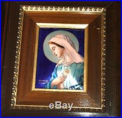 Framed Antique Signed Enamel on Copper Virgin Mary Plaque by P. Bonnet / Limoges