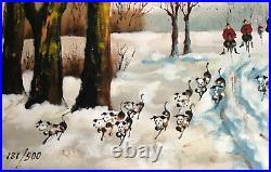 Framed BETTY CHOU Enamel On Copper, Hunt Scene Horse & Hounds Winter