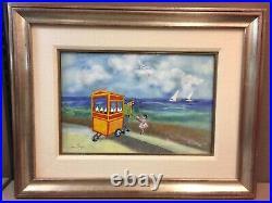 Framed Enamel Over Copper Painting by Lisa Mayer Lolita Ice Cream LIttle Girl