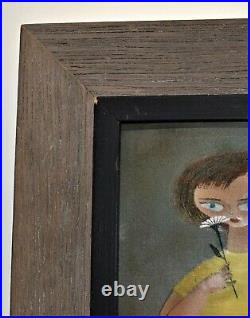 Framed Enamel Painting Girl with Daisey Flower Signed Phyllis Sloane early work