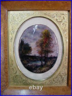 Framed Limoges Miniature Enamel Painting Of Landscape Image 3 1/2 By 2 3/4
