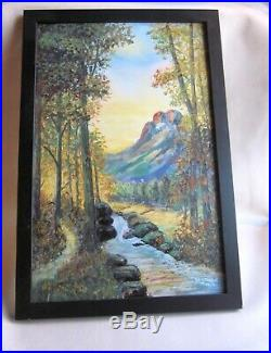 Framed Vintage 1930s Signed Joe Stanek Paint on Enamel Panel of Mountain Scene