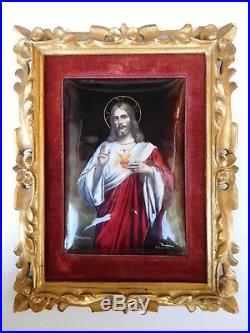 French 19th Century Enamel Jesus Christ Flaming Passion Sacred Heart Painting