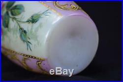 French Antique Art Nouveau Hand Painted Enamel Pink & White Opaline Vase