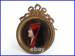 French Antique Lady in Red Enamel Portrait With Dore Ormolu Framed Easel 2.75