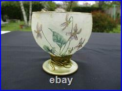 French Art Nouveau Violet Flowers Crystal Vase Gilded And Enameled Hand Paint(b)