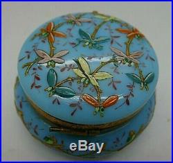 French Blue Opaline Art Glass Enamel Hand Painted Dragonfly Ormolu Box RARE