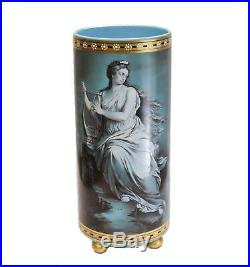French Blue Opaline Art Glass Painted Enamel Vase, circa 1900. Beauty with Harp
