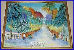 French Fauvist Park Bridge Scene oil Enamel Canvas Panel Framed Unsigned