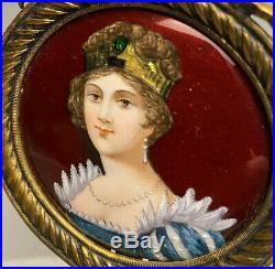 French Limoges Guilloche Enamel On Copper Portrait Caroline Bonaparte Dubois