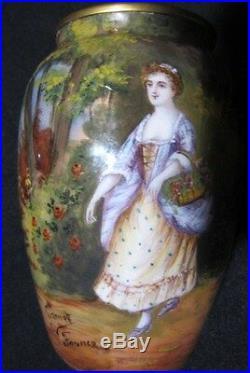 French art deco nouveau enamel pair of vase by master gamet hand paint romantic