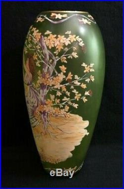 Fritz Heckert Art Nouveau Hand Painted Enameled Vase 11 Marked 16 On Base