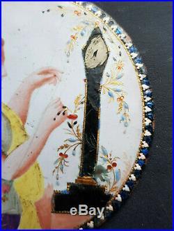 Gemalt Miniatur Emaille 18c Frau Blumen Weben Portrait Miniature ENAMEL PAINTING