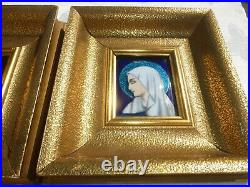 Georges Papault High glaze enamel on copper painting of Jesus & Mary LIMOGES