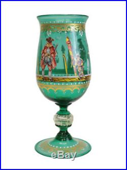 German Art Glass Hand Painted Gilt & Enamel Chalice, Possibly Lobmeyer