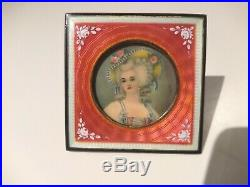 Gilt 935 Sterling Silver Miniature Portrait Signed Rossi Enamel Guilloche Frame